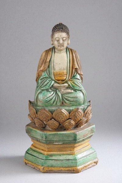 13: CHINESE SANCAI POTTERY FIGURE OF BUDDHA, Ming dynas