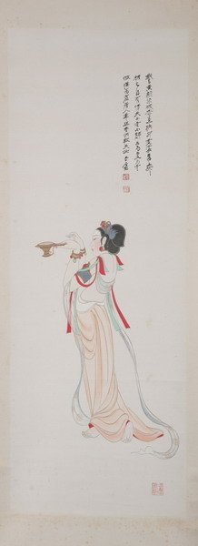 527: CHINESE SCHOOL (19th century). WOMAN, Ink and colo