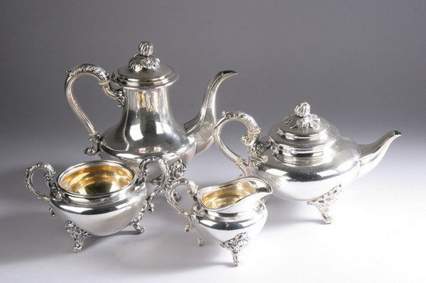 719: FOUR-PIECE VICTORIAN SHEFFIELD PLATE TEA AND COFFE