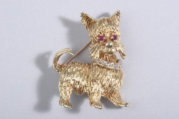 1483: 14K YELLOW GOLD WHIMSICAL DOG PIN.