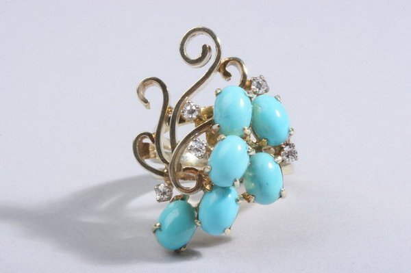 1484: 14K YELLOW GOLD, TURQUOISE AND DIAMOND CONTEMPORA