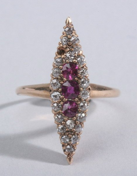 1485: VICTORIAN YELLOW GOLD, DIAMOND AND RUBY NAVETTE S