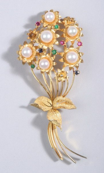 1492: 14K YELLOW GOLD, CULTURED PEARL AND COLORED GEMST