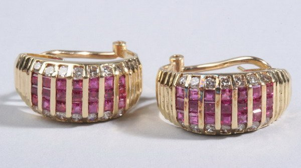 1494: PAIR 14K YELLOW GOLD, RUBY AND DIAMOND EARRINGS.