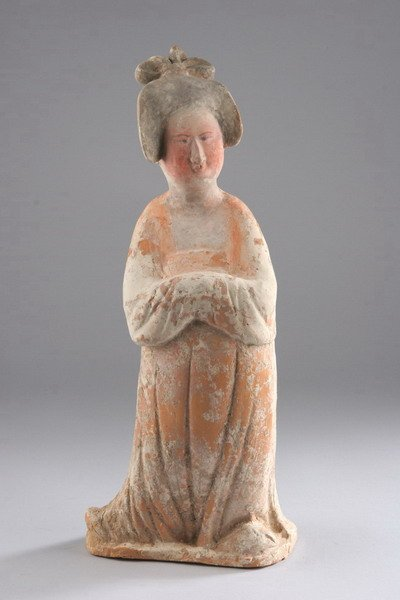 2: A CHINESE PAINTED POTTERY FIGURE OF A COURT LADY, Ta