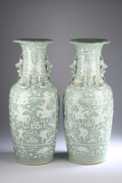 12: PAIR CHINESE CELADON AND WHITE PORCELAIN VASES, 19t