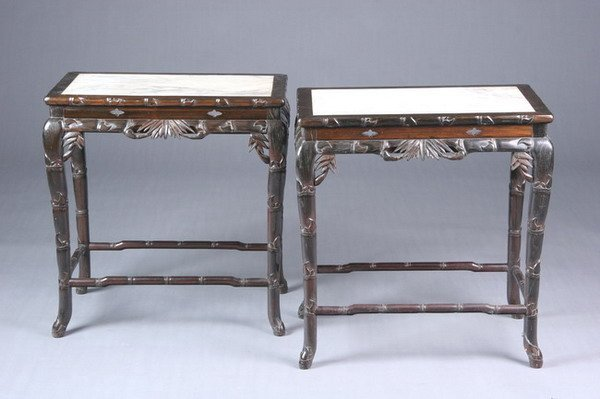 390: PAIR OF CHINESE BLACKWOOD SIDE TABLES, Late 19th c