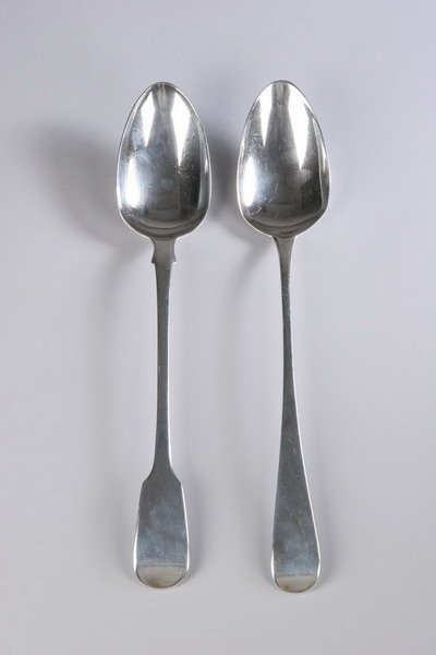 551: TWO GEORGE III SILVER STUFFING SPOONS. - 7 oz., 4