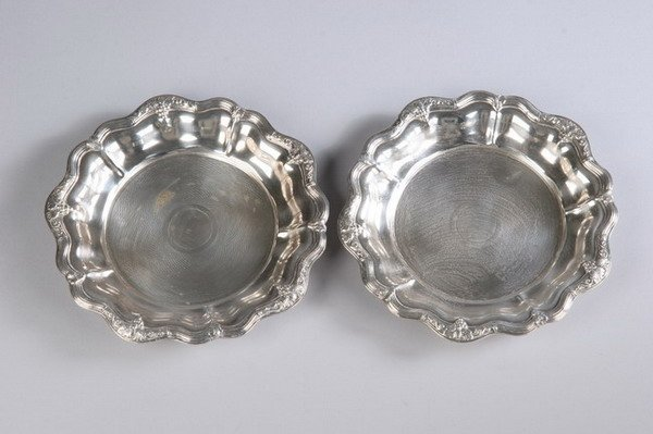 566: PAIR FRENCH SILVER PLATED WINE COASTERS. - 6 1/2 i