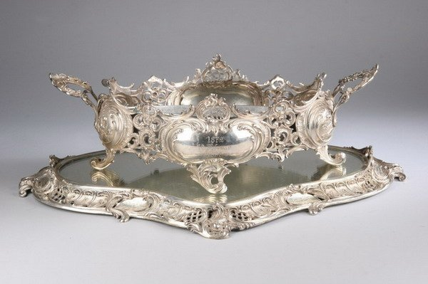572: GERMAN SILVER SHAPED CENTERPIECE AND MIRRORED PLAT