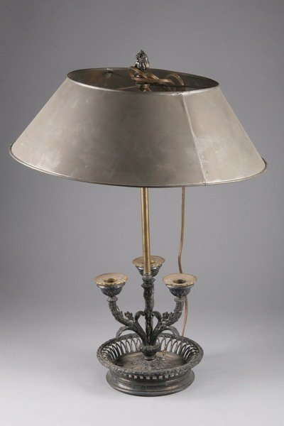 637: LOUIS XVI-STYLE THREE-LIGHT BOUILLOTTE LAMP. early