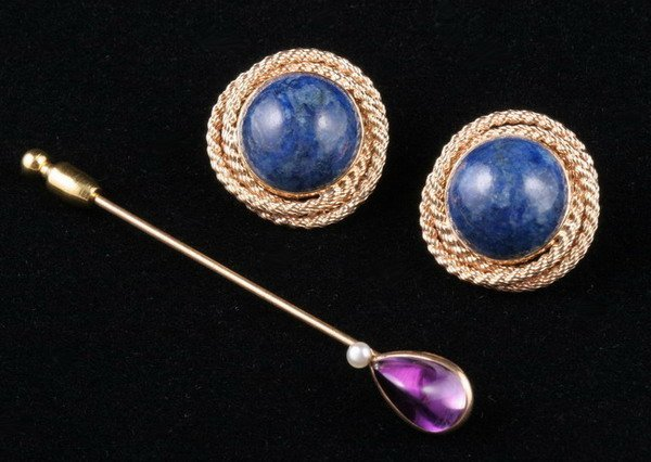 1105: PAIR OF LAPIS LAZULI EARCLIPS WITH AMETHYST AND P