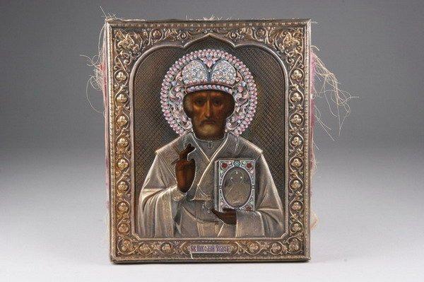 1329: RUSSIAN ICON OF SAINT NICHOLAS. circa 1908-1917,