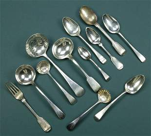 A COLLECTION OF GEORGE III SILVER FLATWARE, - 15 oz.