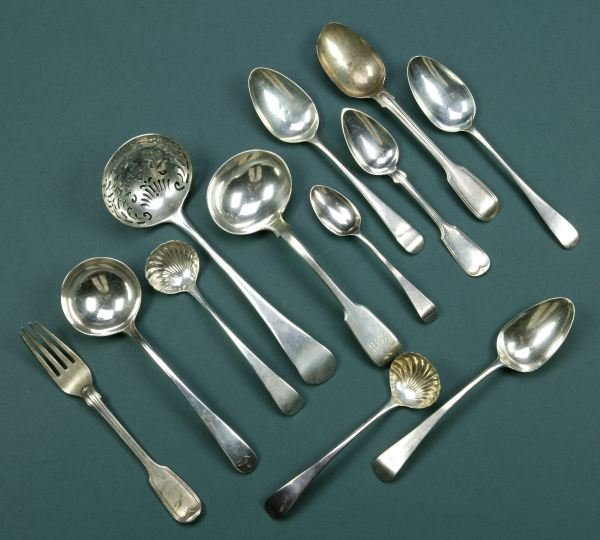3: A COLLECTION OF GEORGE III SILVER FLATWARE, - 15 oz.