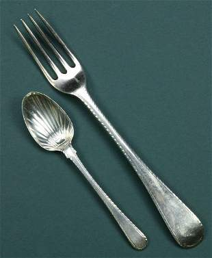 A COLLECTION OF GEORGE III SILVER FLATWARE, - 28 oz.