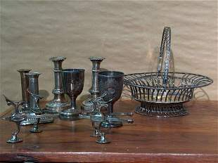A COLLECTION OF SHEFFIELD AND SILVER PLATE. - 13 in