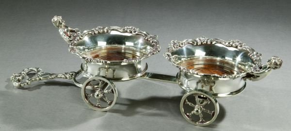 15: AN ENGLISH SILVER PLATE ROCOCO WINE TROLLEY. - 20 1
