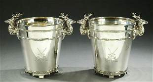 A PAIR OF ENGLISH SILVER PLATE WINE CHILLERS, - 10