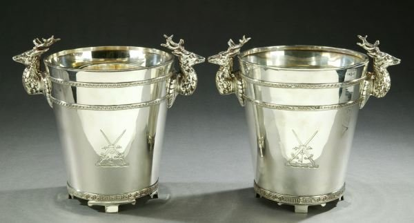 16: A PAIR OF ENGLISH SILVER PLATE WINE CHILLERS, - 10