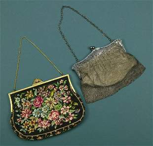TWO LADIES HANDBAGS. - 11 3/4 in. long, the silver