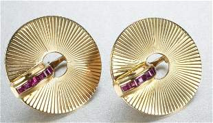 A PAIR OF RETRO 14K YELLOW GOLD AND RUBY EARCLIPS.