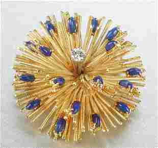 AN 18K YELLOW GOLD, LAPIS AND DIAMOND BROOCH.