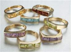 957: A GROUP OF 14K YELLOW GOLD AND SEMI-PRECIOUS STONE