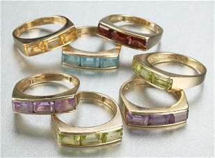 A GROUP OF 14K YELLOW GOLD AND SEMI-PRECIOUS STONE