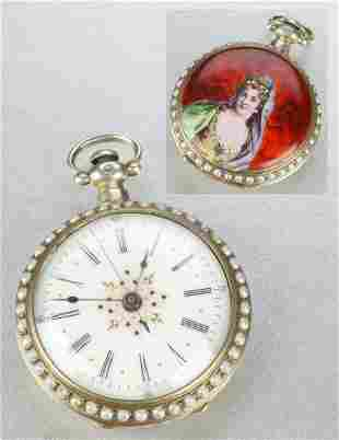A LADIES ANTIQUE SILVER OPEN-FACE POCKETWATCH.