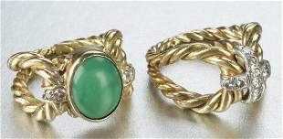 TWO 18K YELLOW GOLD RINGS.