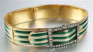 AN ANTIQUE YELLOW GOLD, ENAMEL AND DIAMOND BRACELE