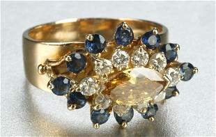 A 14K YELLOW GOLD, SAPPHIRE, YELLOW AND WHITE DIAM