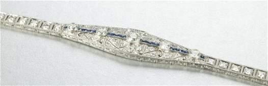 988 AN ART DECO PLATINUM SAPPHIRE AND DIAMOND BRACELE