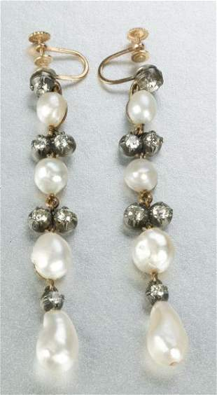 A PAIR ANTIQUE PEARL AND DIAMOND EARPENDANTS.