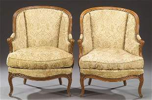 A PAIR OF LOUIS XV STYLE PROVINCIAL FRUITWOOD BERG