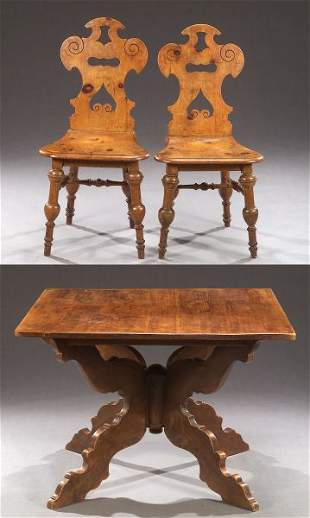 AN AUSTRIAN PINE TABLE AND FOUR PINE CHAIRS, late