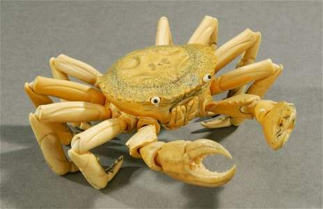 1137: A JAPANESE IVORY ARTICULATED MODEL OF A CRAB, - 7