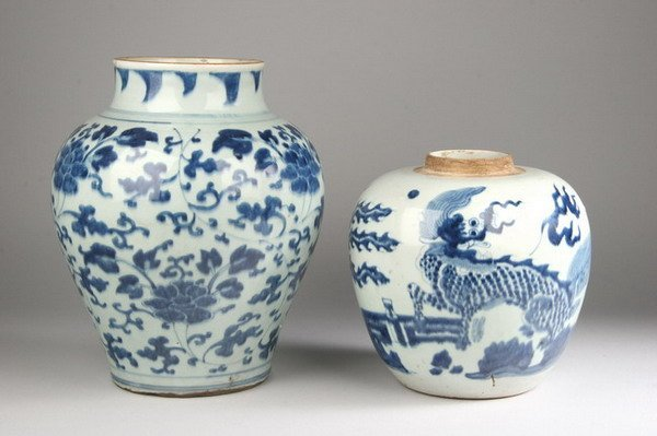 2023: TWO CHINESE BLUE AND WHITE PORCELAIN TEMPLE JARS.