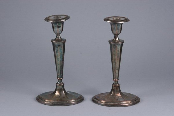 2538: PAIR SHEFFIELD PLATE CANDLESTICKS. - 11 in. tall.
