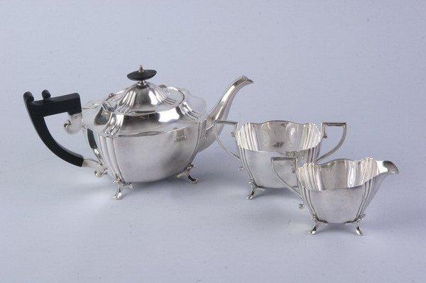 2545: THREE-PIECE ENGLISH SILVER PLATED COFFEE SERVICE.