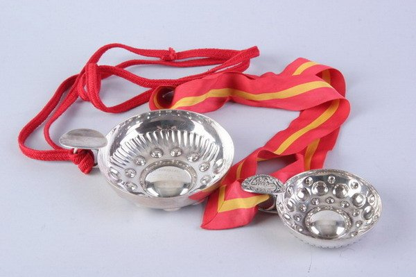2547: TWO FRENCH SILVER PLATED WINE TASTING CUPS. - 4 3