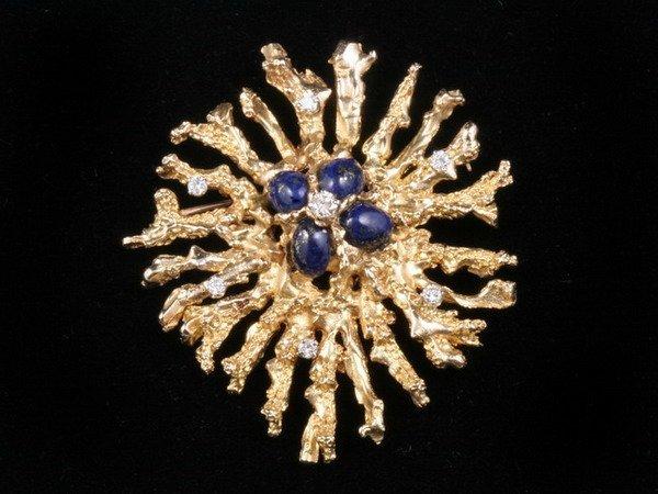 1194: YELLOW GOLD, LAPIS LAZULI, AND DIAMOND STYLIZED S