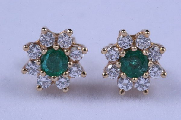 1205: PAIR 14K YELLOW GOLD, EMERALD AND DIAMOND STUD EA