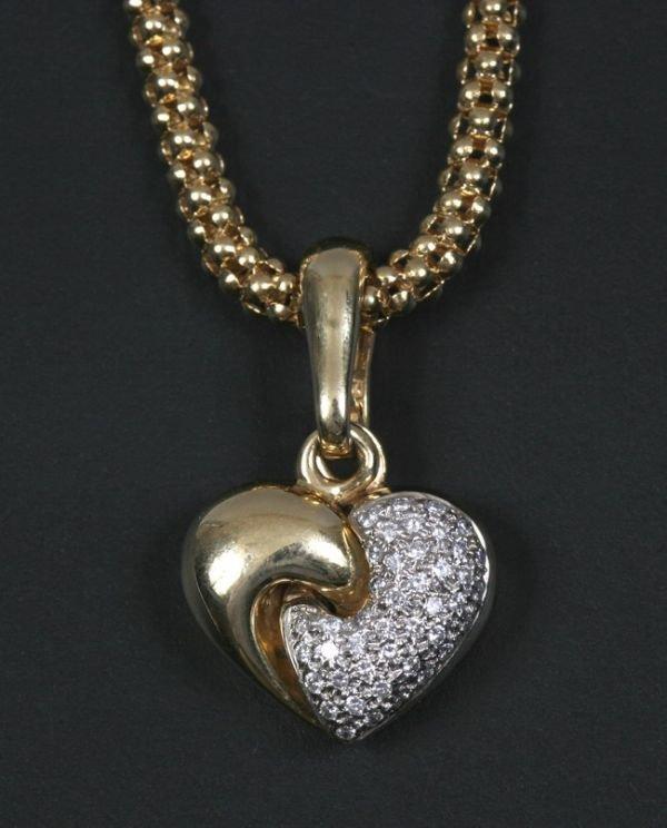 1208: CHIMENTO YELLOW GOLD AND DIAMOND HEART PENDANT NE