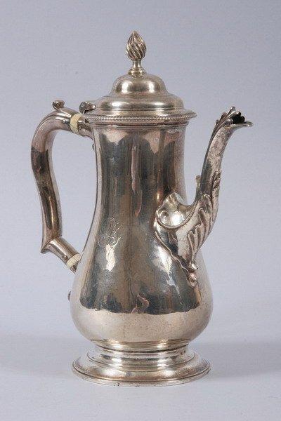 583: GEORGE III SILVER COFFEE POT. John Kidder, London,