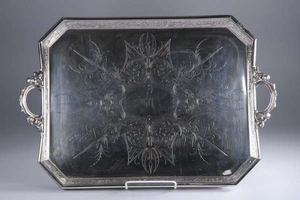 602: LARGE AESTHETIC MOVEMENT SILVER PLATED TRAY. - 29