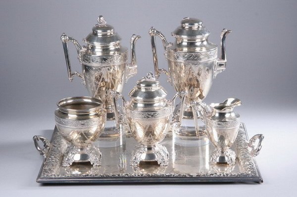 603: FIVE-PIECE AMERICAN AESTHETIC MOVEMENT SILVER PLAT