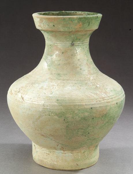 5: CHINESE IRIDESCENT GREEN GLAZED POTTERY VASE, Wester