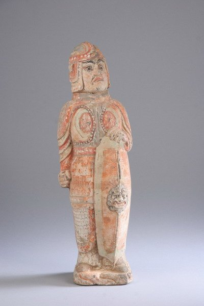 7: CHINESE TERRACOTTA FIGURE OF WARRIOR, Northern Qi Dy